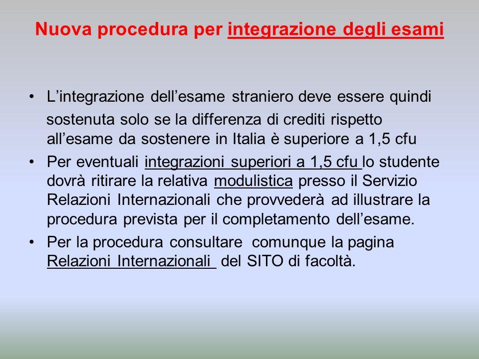 Nuova procedura per integrazione degli esami Lintegrazione dellesame straniero deve essere quindi sostenuta solo se la differenza di crediti rispetto