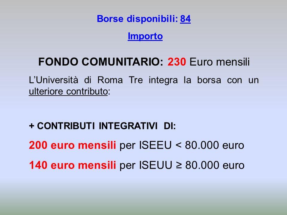 Borse disponibili: 84 Importo FONDO COMUNITARIO: 230 Euro mensili LUniversità di Roma Tre integra la borsa con un ulteriore contributo: + CONTRIBUTI I