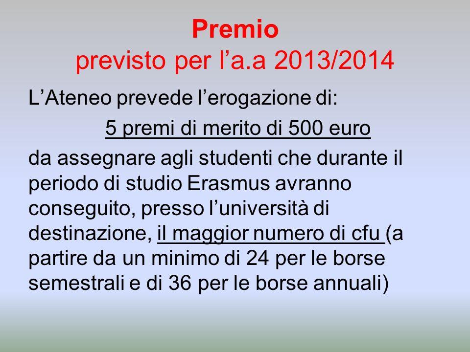 Premio previsto per la.a 2013/2014 LAteneo prevede lerogazione di: 5 premi di merito di 500 euro da assegnare agli studenti che durante il periodo di