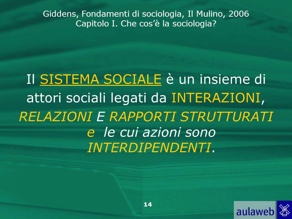 Giddens, Fondamenti di sociologia, Il Mulino, 2006 Capitolo I. Che cosè la sociologia? 14 Il SISTEMA SOCIALE è un insieme di attori sociali legati da