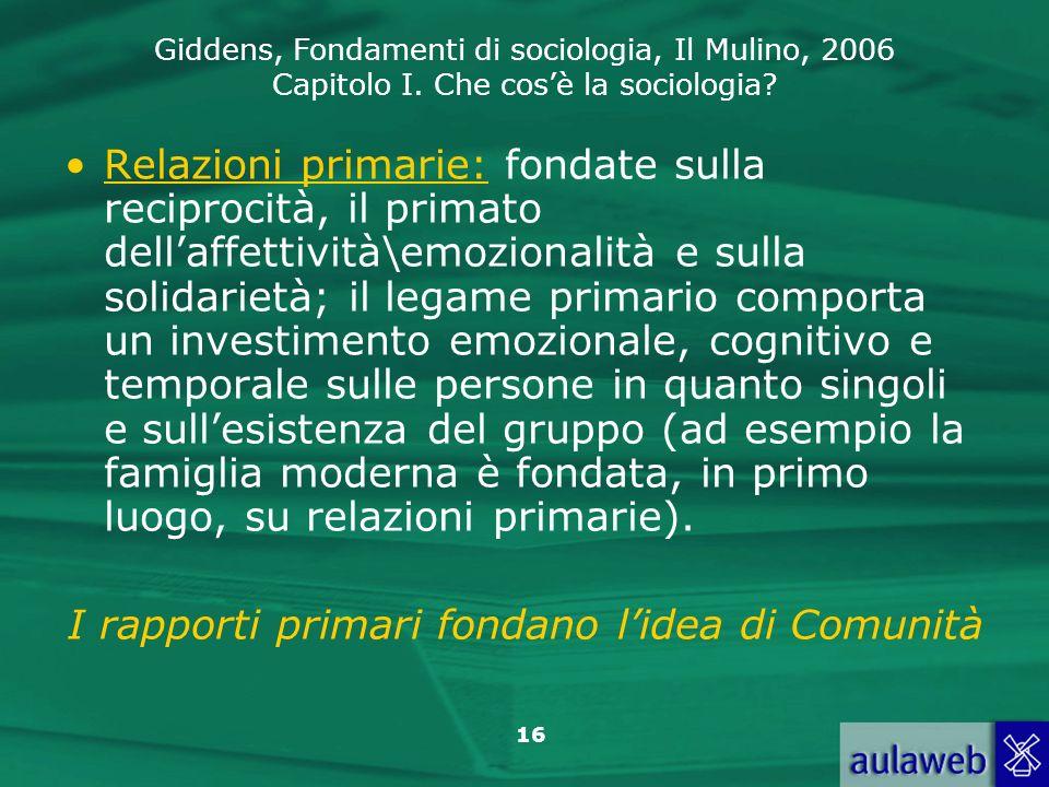 Giddens, Fondamenti di sociologia, Il Mulino, 2006 Capitolo I. Che cosè la sociologia? 16 Relazioni primarie: fondate sulla reciprocità, il primato de