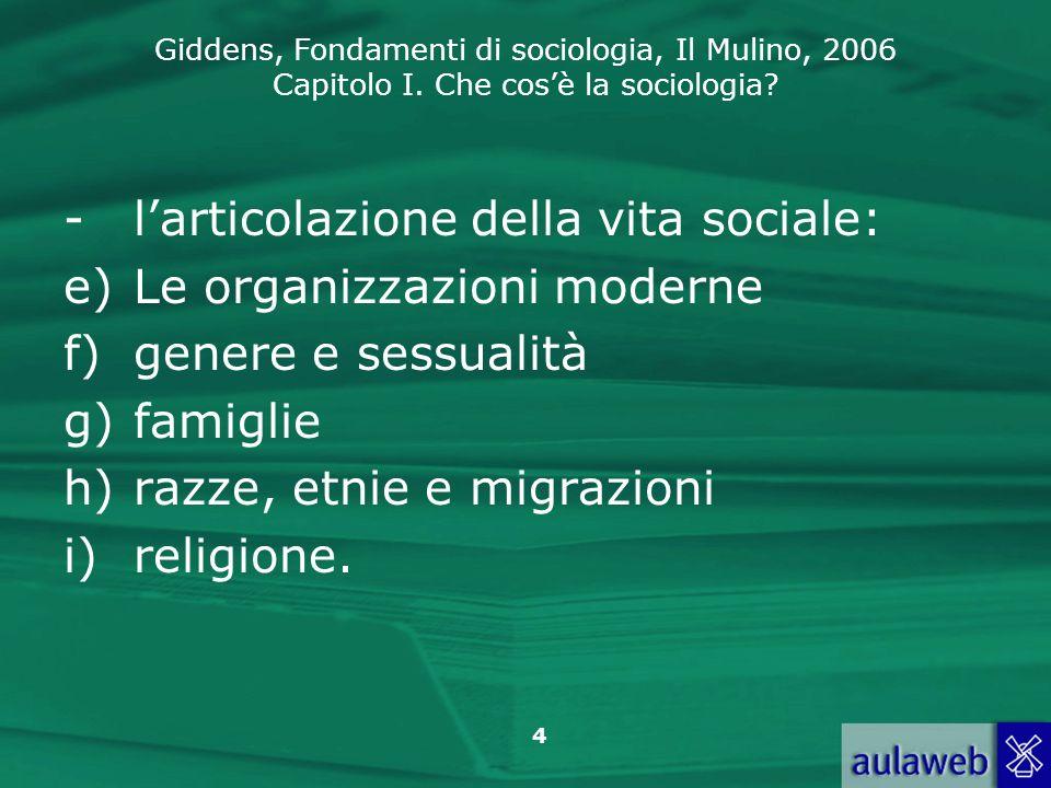 Giddens, Fondamenti di sociologia, Il Mulino, 2006 Capitolo I. Che cosè la sociologia? 4 -larticolazione della vita sociale: e)Le organizzazioni moder