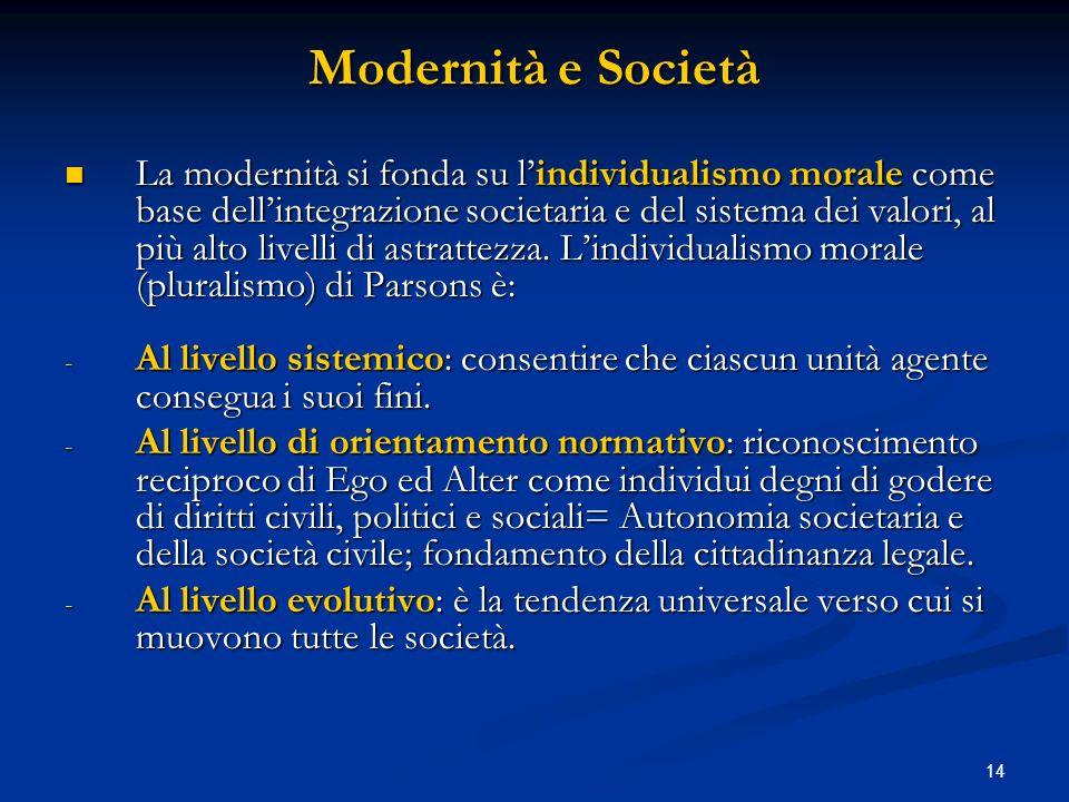 14 Modernità e Società La modernità si fonda su lindividualismo morale come base dellintegrazione societaria e del sistema dei valori, al più alto liv