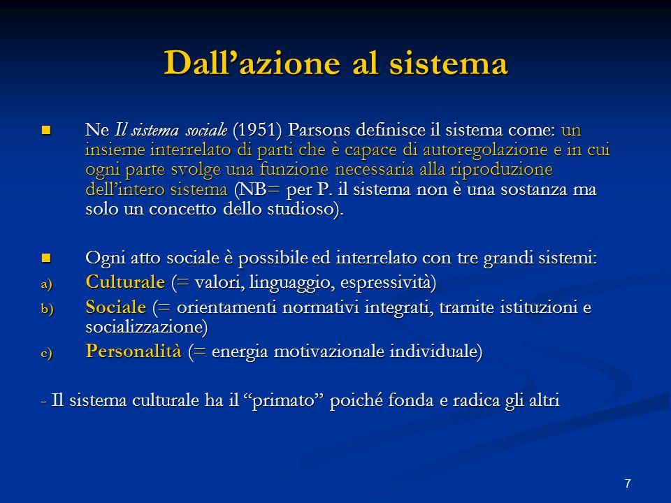 7 Dallazione al sistema Ne Il sistema sociale (1951) Parsons definisce il sistema come: un insieme interrelato di parti che è capace di autoregolazion