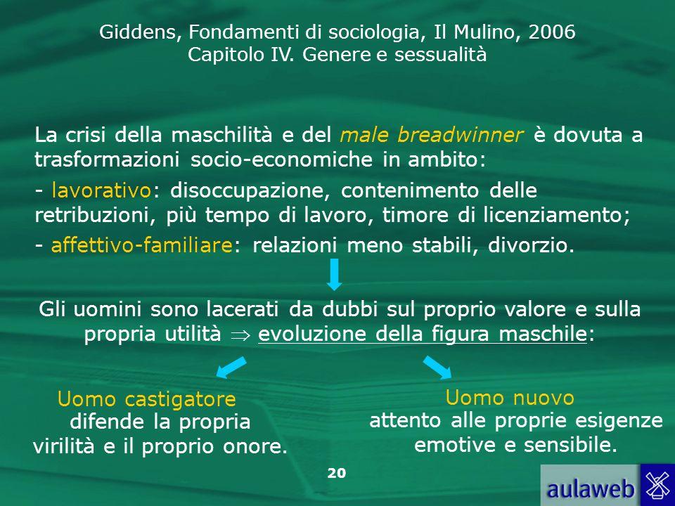 Giddens, Fondamenti di sociologia, Il Mulino, 2006 Capitolo IV. Genere e sessualità 20 La crisi della maschilità e del male breadwinner è dovuta a tra