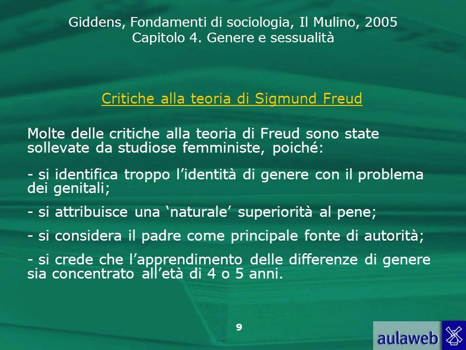 Giddens, Fondamenti di sociologia, Il Mulino, 2005 Capitolo 4. Genere e sessualità 9 Critiche alla teoria di Sigmund Freud Molte delle critiche alla t