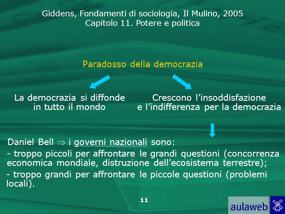 Giddens, Fondamenti di sociologia, Il Mulino, 2005 Capitolo 11. Potere e politica 11 Paradosso della democrazia Crescono linsoddisfazione e lindiffere