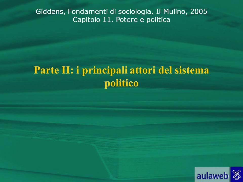 Giddens, Fondamenti di sociologia, Il Mulino, 2005 Capitolo 11. Potere e politica Parte II: i principali attori del sistema politico