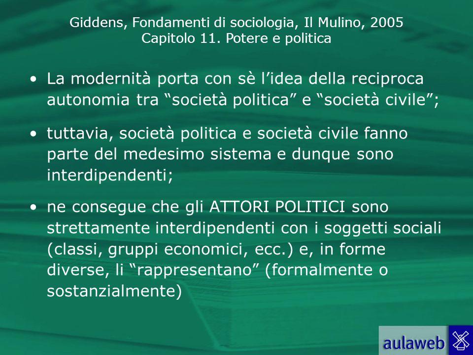 Giddens, Fondamenti di sociologia, Il Mulino, 2005 Capitolo 11. Potere e politica La modernità porta con sè lidea della reciproca autonomia tra societ