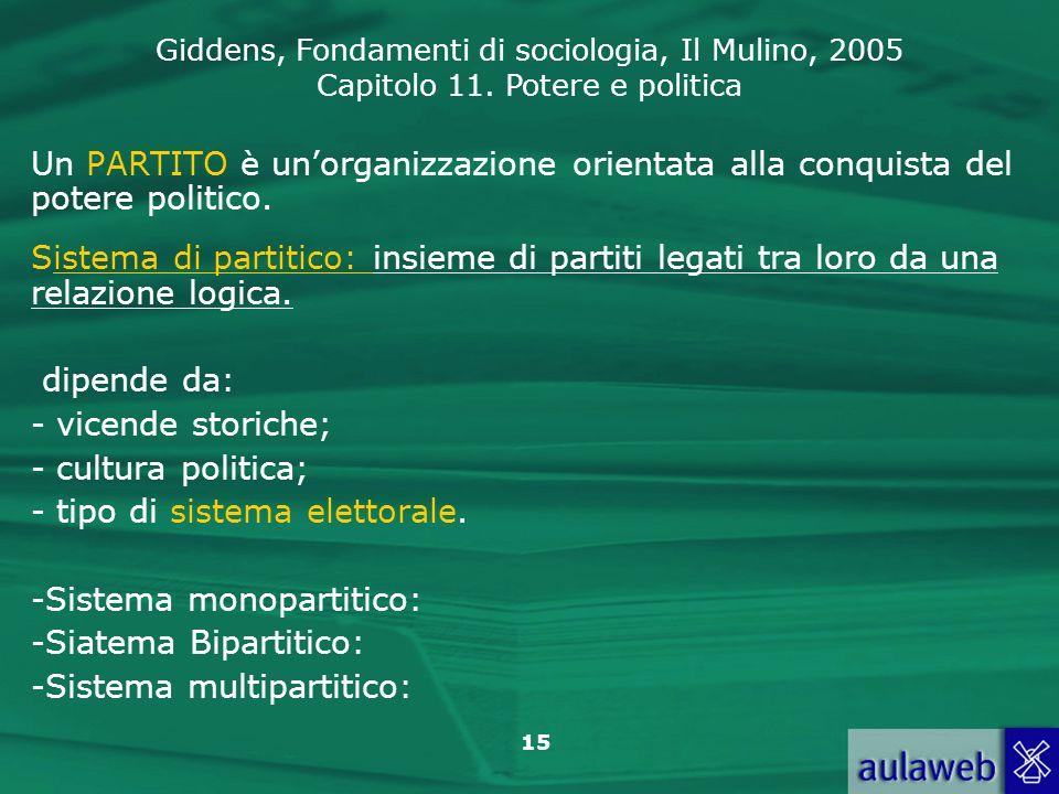 Giddens, Fondamenti di sociologia, Il Mulino, 2005 Capitolo 11. Potere e politica 15 Un PARTITO è unorganizzazione orientata alla conquista del potere