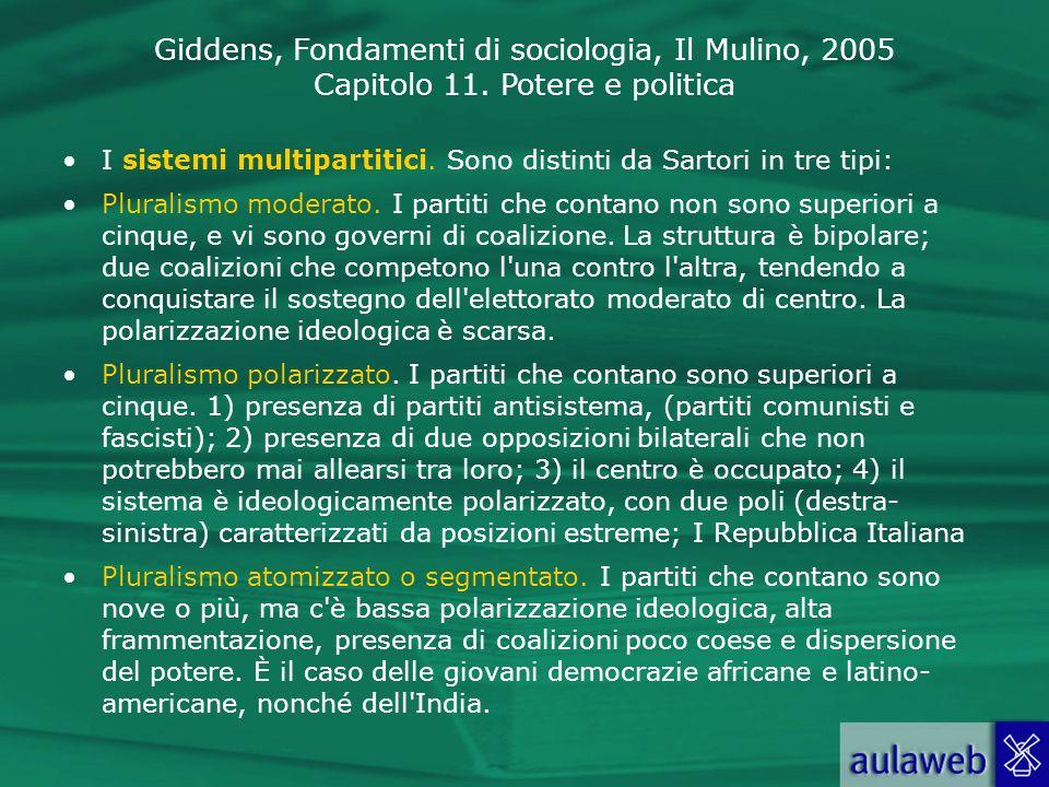 Giddens, Fondamenti di sociologia, Il Mulino, 2005 Capitolo 11. Potere e politica I sistemi multipartitici. Sono distinti da Sartori in tre tipi: Plur