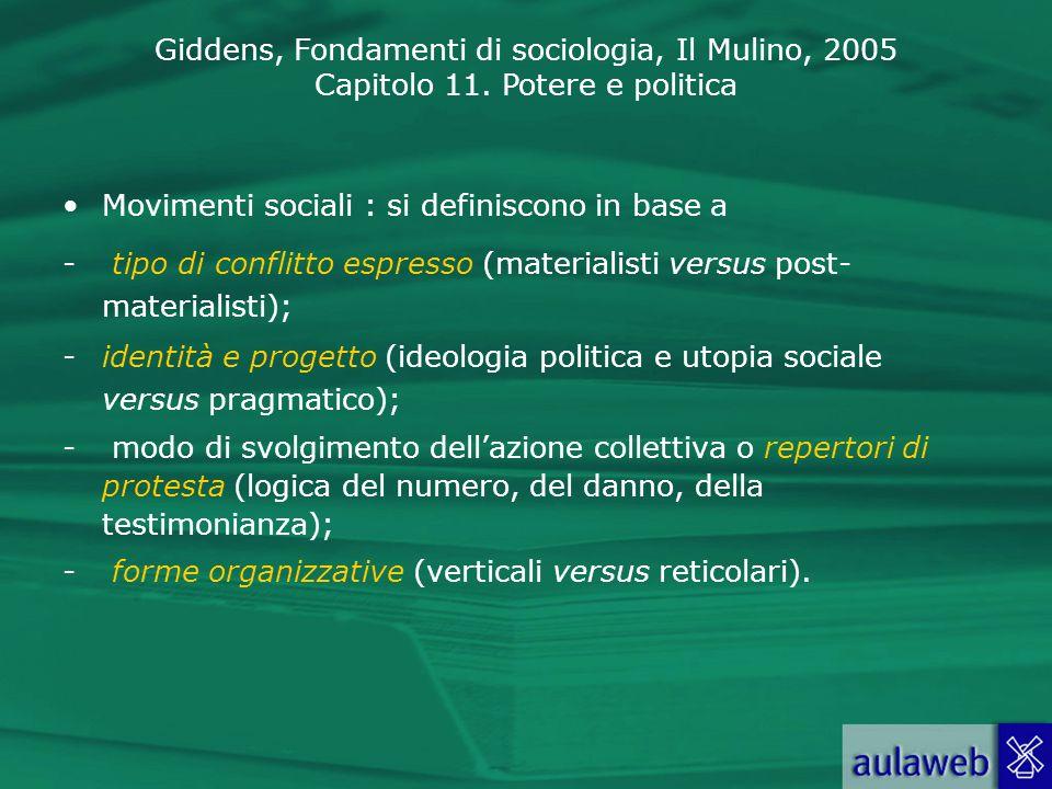 Giddens, Fondamenti di sociologia, Il Mulino, 2005 Capitolo 11. Potere e politica Movimenti sociali : si definiscono in base a - tipo di conflitto esp