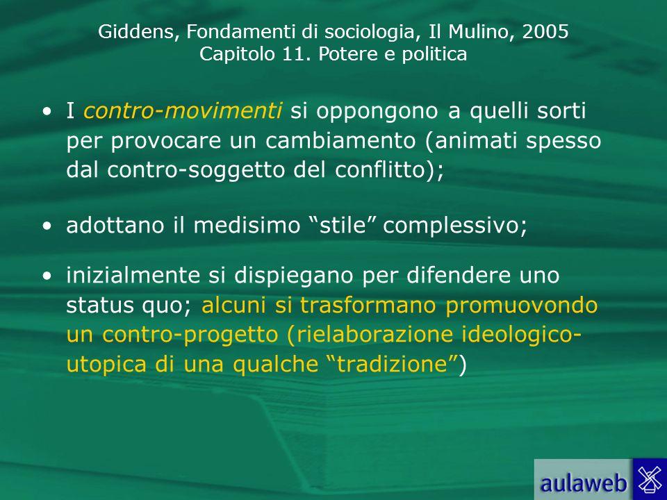 Giddens, Fondamenti di sociologia, Il Mulino, 2005 Capitolo 11. Potere e politica I contro-movimenti si oppongono a quelli sorti per provocare un camb