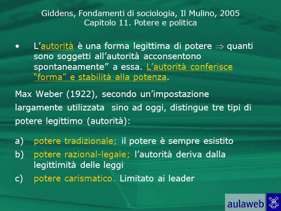 Giddens, Fondamenti di sociologia, Il Mulino, 2005 Capitolo 11. Potere e politica Lautorità è una forma legittima di potere quanti sono soggetti allau
