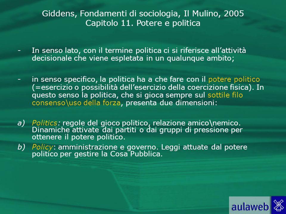 Giddens, Fondamenti di sociologia, Il Mulino, 2005 Capitolo 11. Potere e politica -In senso lato, con il termine politica ci si riferisce allattività