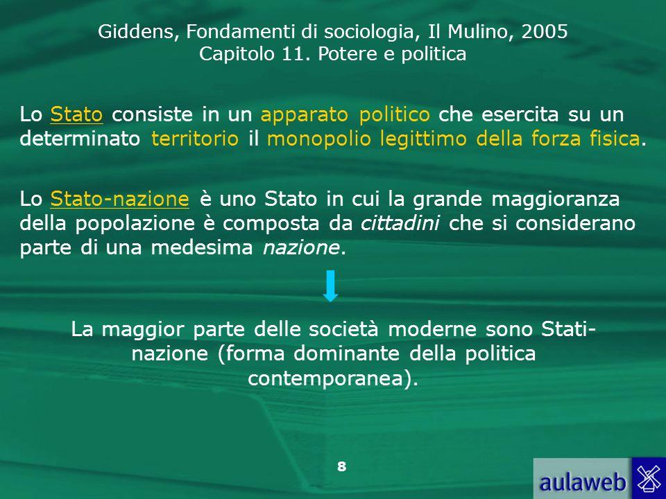 Giddens, Fondamenti di sociologia, Il Mulino, 2005 Capitolo 11. Potere e politica 8 Lo Stato consiste in un apparato politico che esercita su un deter