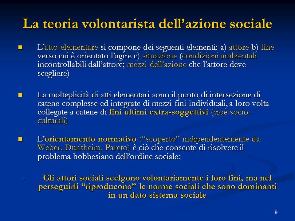 9 La teoria volontarista dellazione sociale Latto elementare si compone dei seguenti elementi: a) attore b) fine verso cui è orientato lagire c) situa
