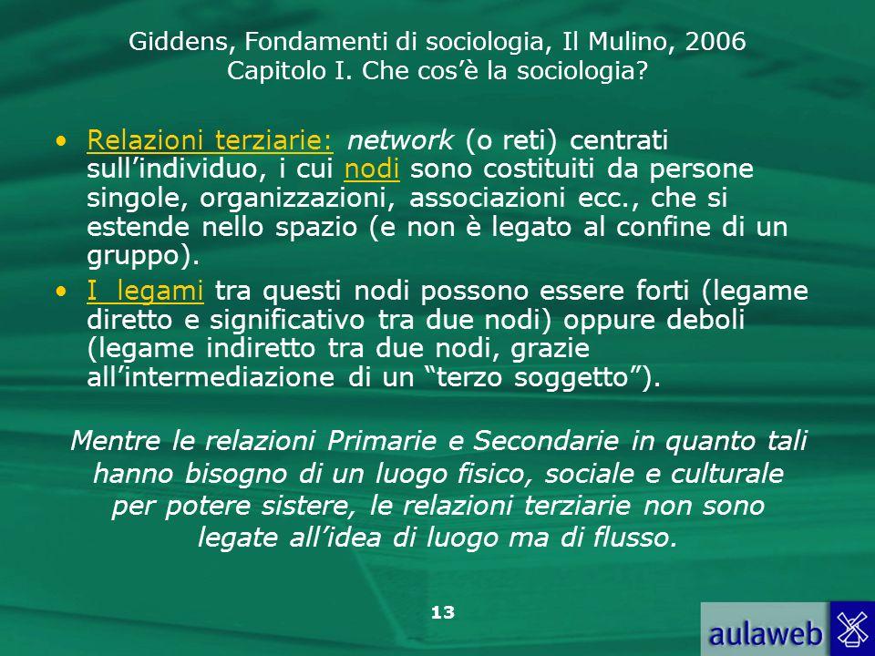Giddens, Fondamenti di sociologia, Il Mulino, 2006 Capitolo I. Che cosè la sociologia? 13 Relazioni terziarie: network (o reti) centrati sullindividuo