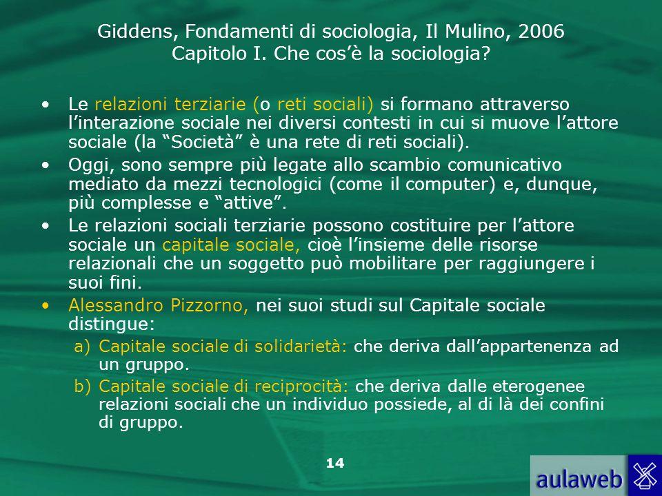 Giddens, Fondamenti di sociologia, Il Mulino, 2006 Capitolo I. Che cosè la sociologia? 14 Le relazioni terziarie (o reti sociali) si formano attravers