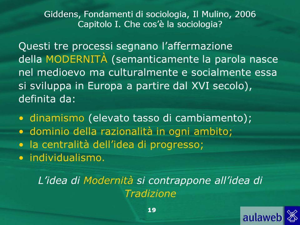 Giddens, Fondamenti di sociologia, Il Mulino, 2006 Capitolo I. Che cosè la sociologia? 19 Questi tre processi segnano laffermazione della MODERNITÀ (s