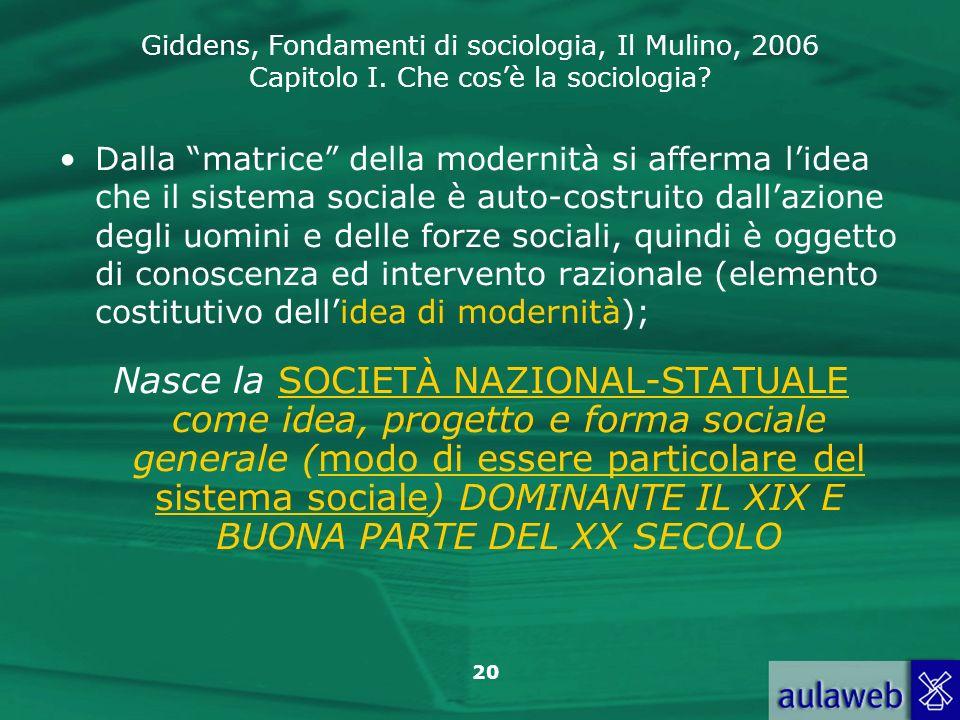Giddens, Fondamenti di sociologia, Il Mulino, 2006 Capitolo I. Che cosè la sociologia? 20 Dalla matrice della modernità si afferma lidea che il sistem