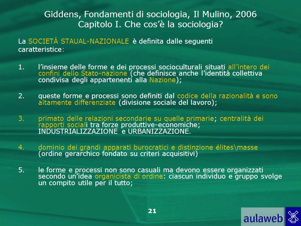 Giddens, Fondamenti di sociologia, Il Mulino, 2006 Capitolo I. Che cosè la sociologia? 21 La SOCIETÀ STAUAL-NAZIONALE è definita dalle seguenti caratt