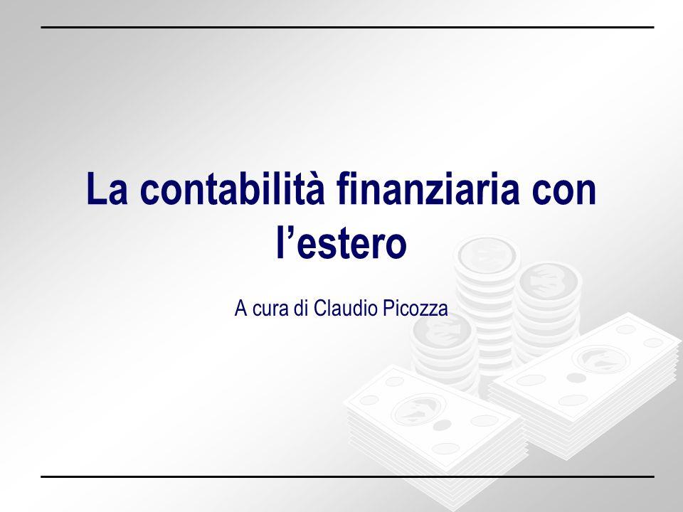 La contabilità finanziaria con lestero – Claudio Picozza 22 INFLAZIONE - - domanda prodotti nazionali + domanda prodotti esteri DEFICIT BILANCIA COMMERCIALE M> X DEFICIT BILANCIA COMMERCIALE M> X + domanda prodotti nazionali - domanda prodotti esteri RIEQUILIBRIO BILANCIA COMMERCIALE RIEQUILIBRIO BILANCIA COMMERCIALE Inflazione, saldo BdP e tasso di Cambio DEPREZZAMENTO DEL TASSO DI CAMBIO