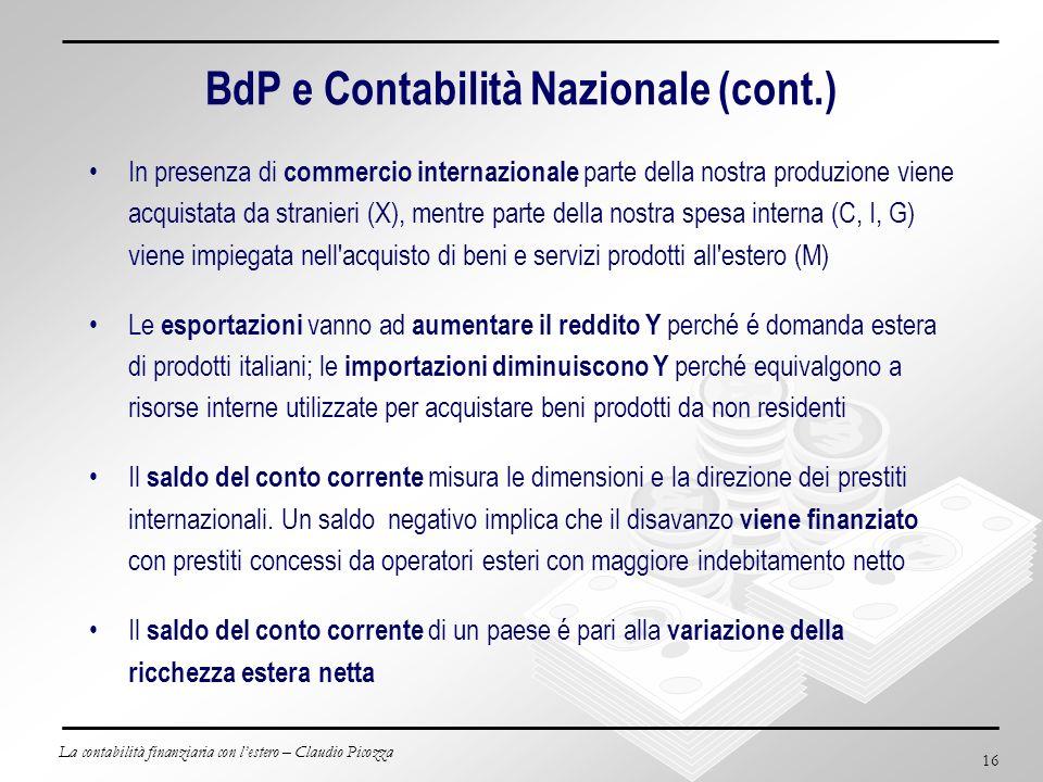 La contabilità finanziaria con lestero – Claudio Picozza 16 BdP e Contabilità Nazionale (cont.) In presenza di commercio internazionale parte della no