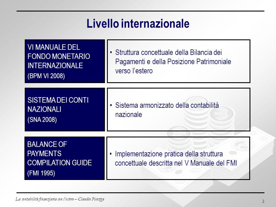 La contabilità finanziaria con lestero – Claudio Picozza 4 Livello europeo BALANCE OF PAYMENTS BOOK (BCE 1998 – revisioni annuali) BALANCE OF PAYMENTS BOOK – ITALY (BCE 1998 – revisioni annuali) INDIRIZZO DELLA BANCA CENTRALE EUROPEA (ECB/2007/3 giugno 2007) Definizioni, struttura e metodi di raccolta della Bilancia dei Pagamenti e della Posizione Patrimoniale verso lEstero per lUnione Europea Stabilisce gli Obblighi di segnalazione statistica della Banca Centrale Europea relativi a Bilancia dei Pagamenti, Schema delle Riserve Internazionali e Posizione Patrimoniale verso lEstero Dettagli per la struttura e metodi di raccolta della Bilancia dei Pagamenti e Posizione Patrimoniale verso lEstero italiane