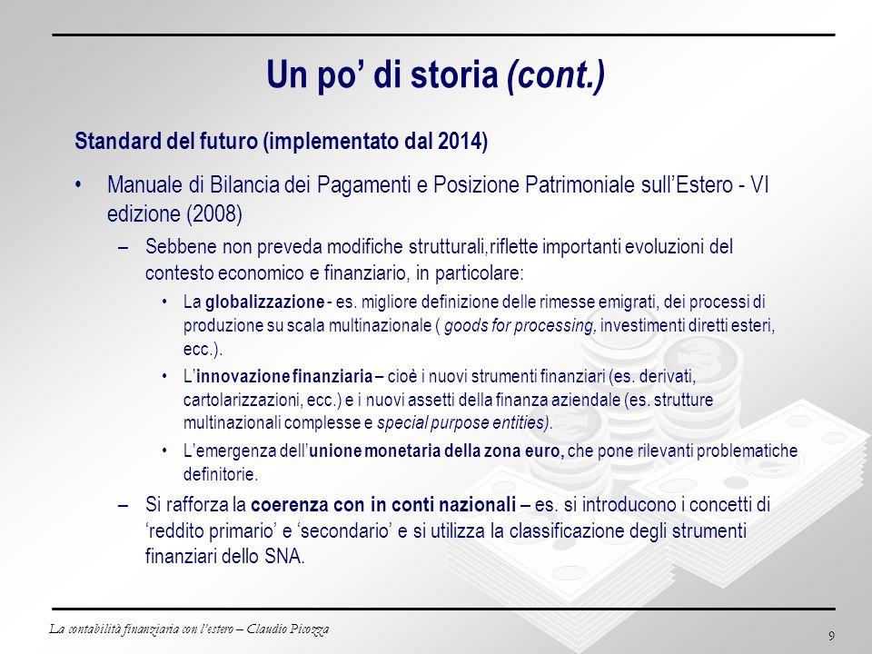 La contabilità finanziaria con lestero – Claudio Picozza 9 Un po di storia (cont.) Standard del futuro (implementato dal 2014) Manuale di Bilancia dei