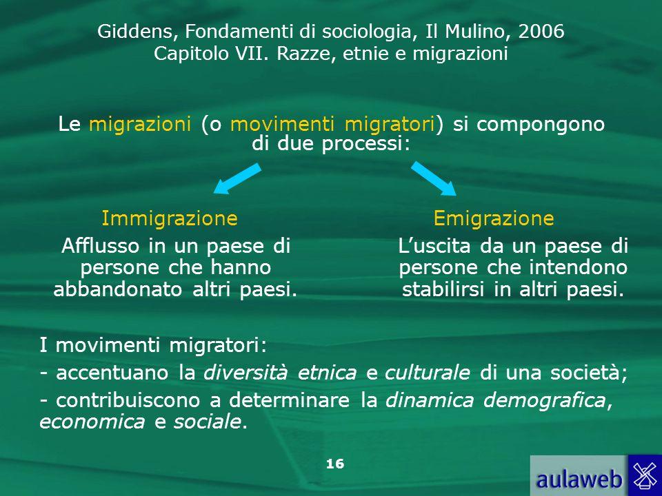 Giddens, Fondamenti di sociologia, Il Mulino, 2006 Capitolo VII. Razze, etnie e migrazioni 16 Le migrazioni (o movimenti migratori) si compongono di d