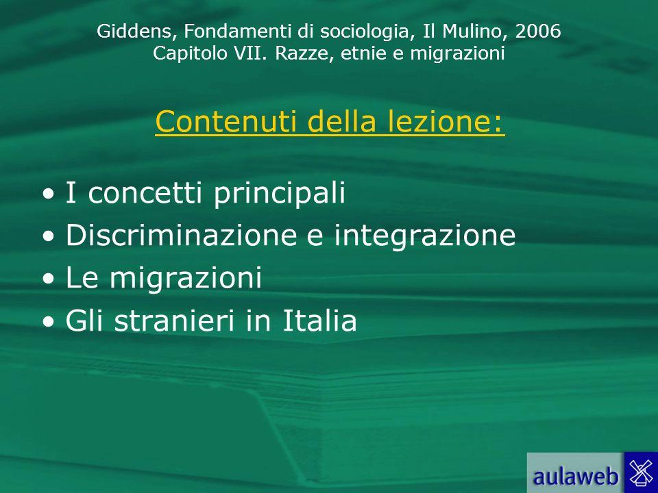 Giddens, Fondamenti di sociologia, Il Mulino, 2006 Capitolo VII. Razze, etnie e migrazioni Contenuti della lezione: I concetti principali Discriminazi