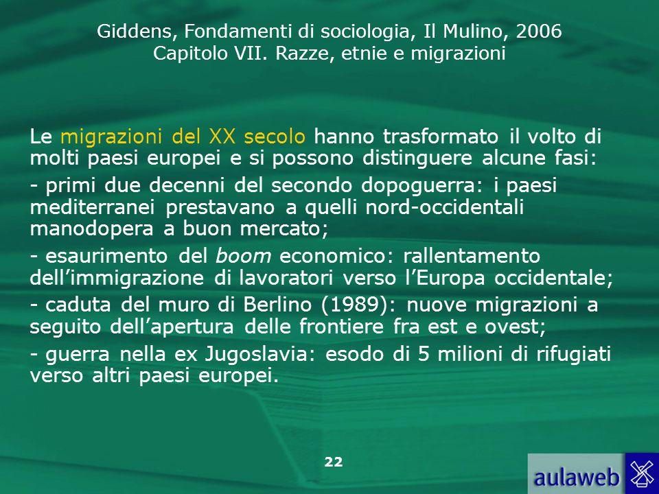 Giddens, Fondamenti di sociologia, Il Mulino, 2006 Capitolo VII. Razze, etnie e migrazioni 22 Le migrazioni del XX secolo hanno trasformato il volto d
