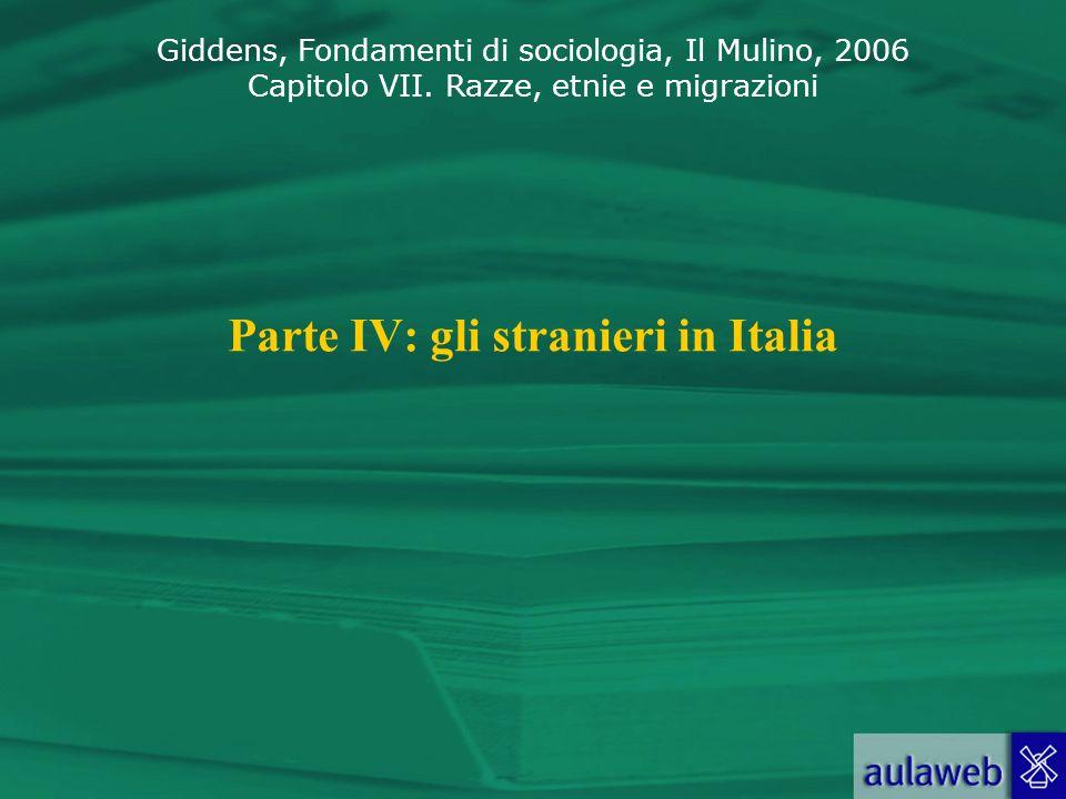 Giddens, Fondamenti di sociologia, Il Mulino, 2006 Capitolo VII. Razze, etnie e migrazioni Parte IV: gli stranieri in Italia