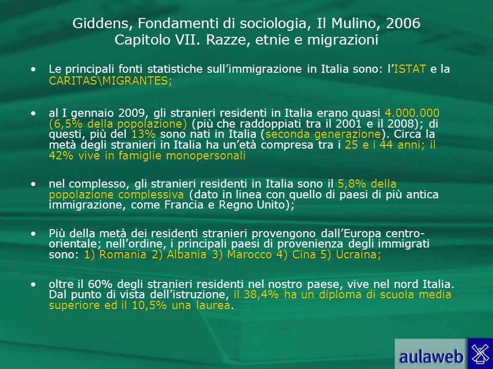 Giddens, Fondamenti di sociologia, Il Mulino, 2006 Capitolo VII. Razze, etnie e migrazioni Le principali fonti statistiche sullimmigrazione in Italia