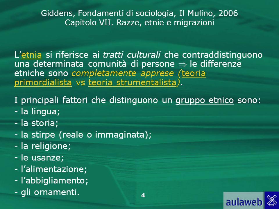 Giddens, Fondamenti di sociologia, Il Mulino, 2006 Capitolo VII. Razze, etnie e migrazioni 4 Letnia si riferisce ai tratti culturali che contraddistin
