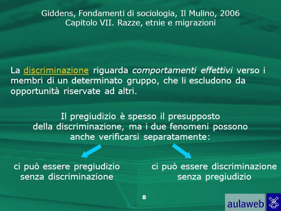 Giddens, Fondamenti di sociologia, Il Mulino, 2006 Capitolo VII. Razze, etnie e migrazioni 8 La discriminazione riguarda comportamenti effettivi verso