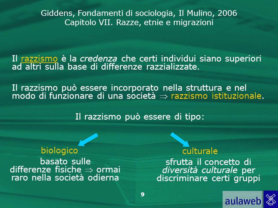 Giddens, Fondamenti di sociologia, Il Mulino, 2006 Capitolo VII. Razze, etnie e migrazioni 9 Il razzismo è la credenza che certi individui siano super