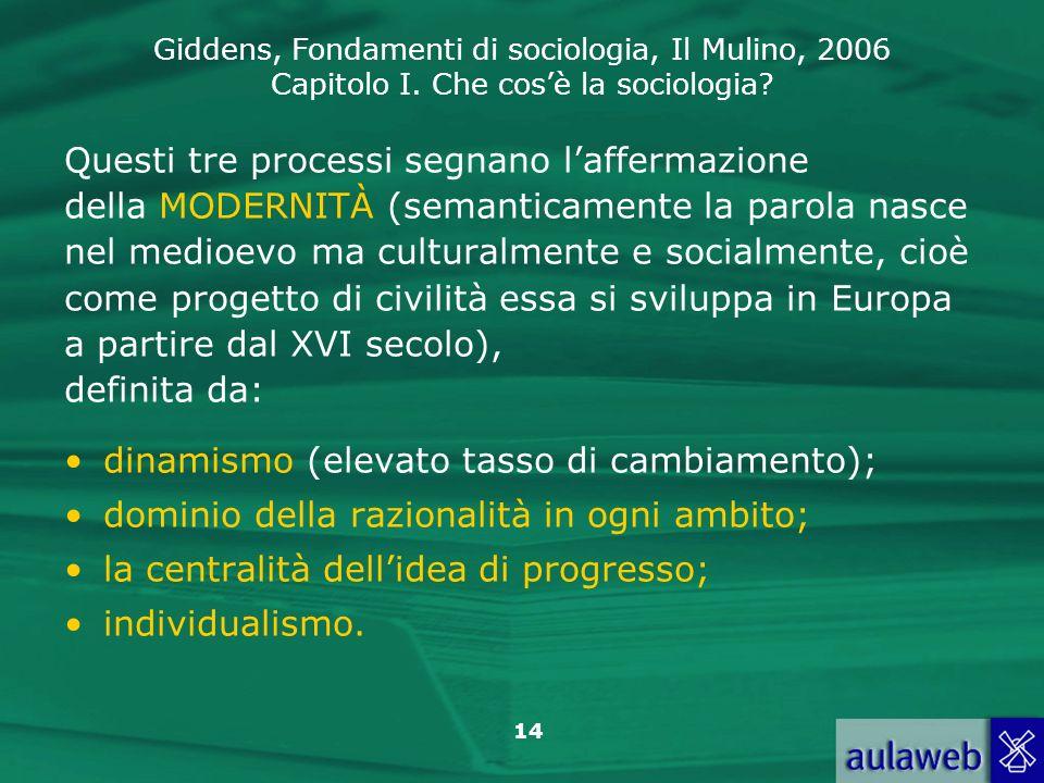 Giddens, Fondamenti di sociologia, Il Mulino, 2006 Capitolo I. Che cosè la sociologia? 14 Questi tre processi segnano laffermazione della MODERNITÀ (s