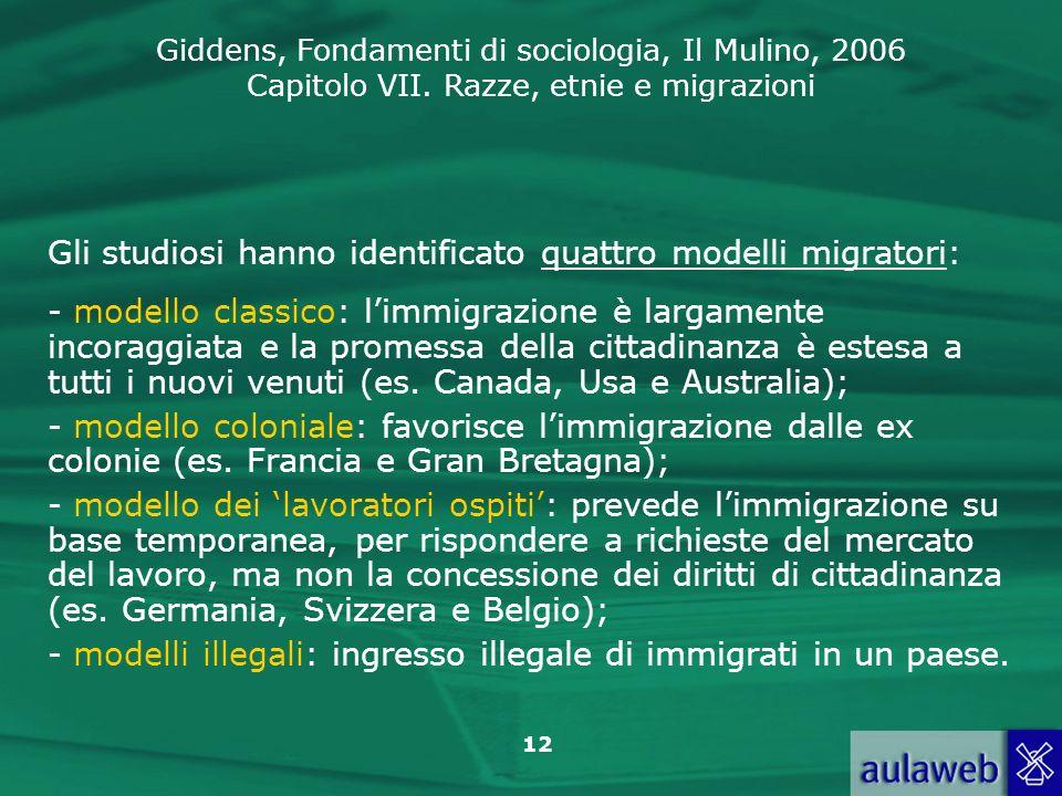 Giddens, Fondamenti di sociologia, Il Mulino, 2006 Capitolo VII. Razze, etnie e migrazioni 12 Gli studiosi hanno identificato quattro modelli migrator