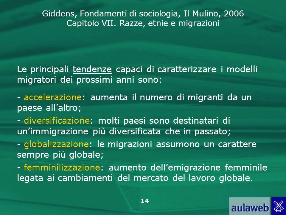 Giddens, Fondamenti di sociologia, Il Mulino, 2006 Capitolo VII. Razze, etnie e migrazioni 14 Le principali tendenze capaci di caratterizzare i modell