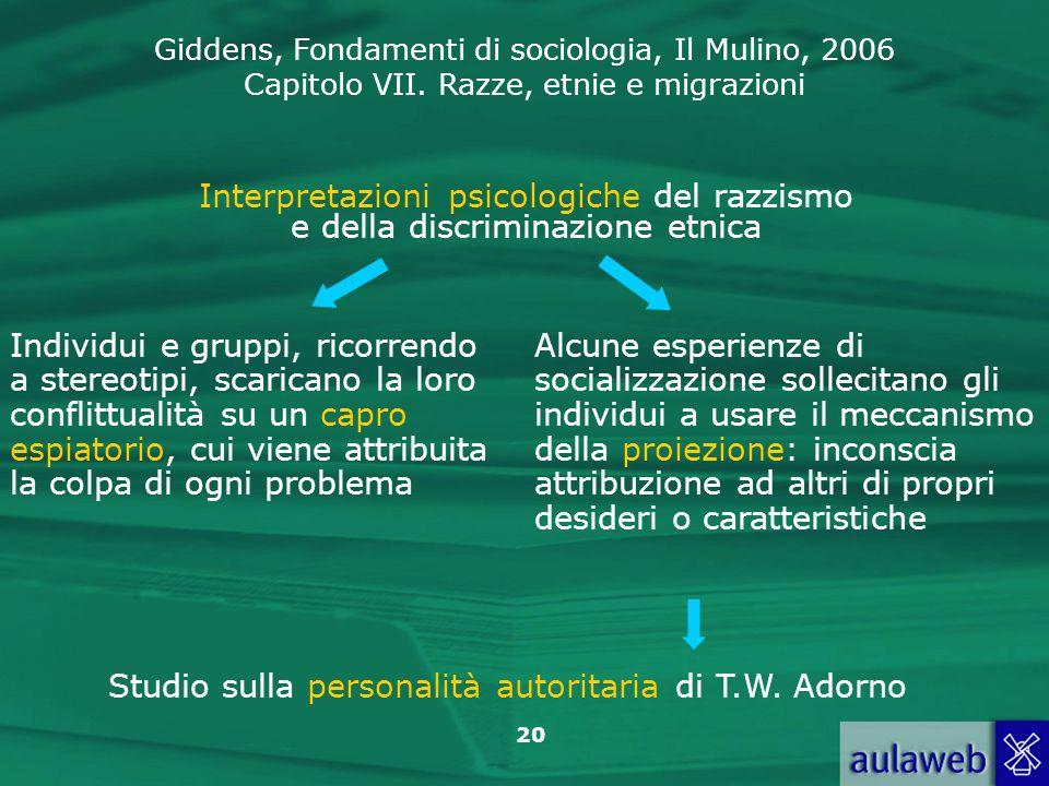 Giddens, Fondamenti di sociologia, Il Mulino, 2006 Capitolo VII. Razze, etnie e migrazioni 20 Interpretazioni psicologiche del razzismo e della discri