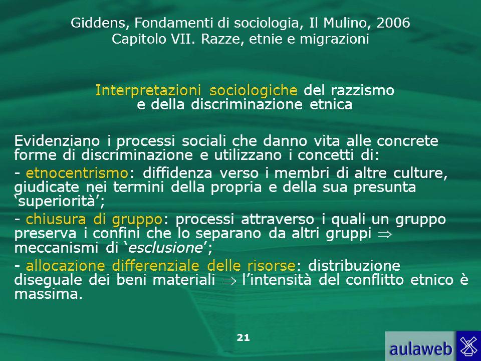 Giddens, Fondamenti di sociologia, Il Mulino, 2006 Capitolo VII. Razze, etnie e migrazioni 21 Interpretazioni sociologiche del razzismo e della discri