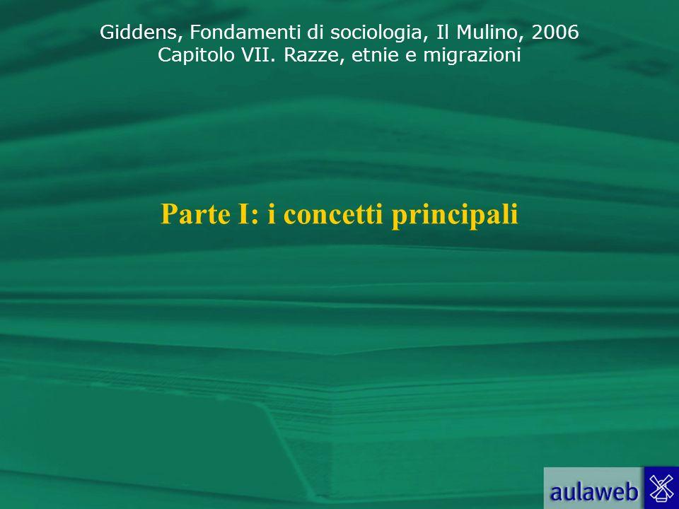 Giddens, Fondamenti di sociologia, Il Mulino, 2006 Capitolo VII. Razze, etnie e migrazioni Parte I: i concetti principali