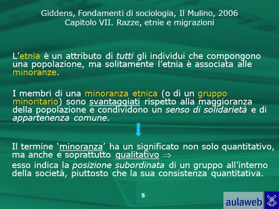Giddens, Fondamenti di sociologia, Il Mulino, 2006 Capitolo VII. Razze, etnie e migrazioni 5 Letnia è un attributo di tutti gli individui che compongo