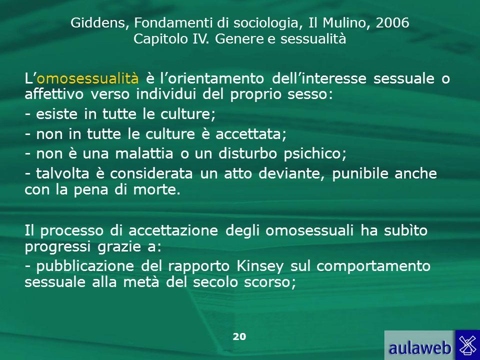 Giddens, Fondamenti di sociologia, Il Mulino, 2006 Capitolo IV. Genere e sessualità 20 Lomosessualità è lorientamento dellinteresse sessuale o affetti