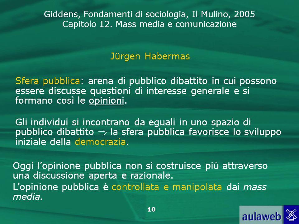 Giddens, Fondamenti di sociologia, Il Mulino, 2005 Capitolo 12. Mass media e comunicazione 10 Jürgen Habermas Sfera pubblica: arena di pubblico dibatt