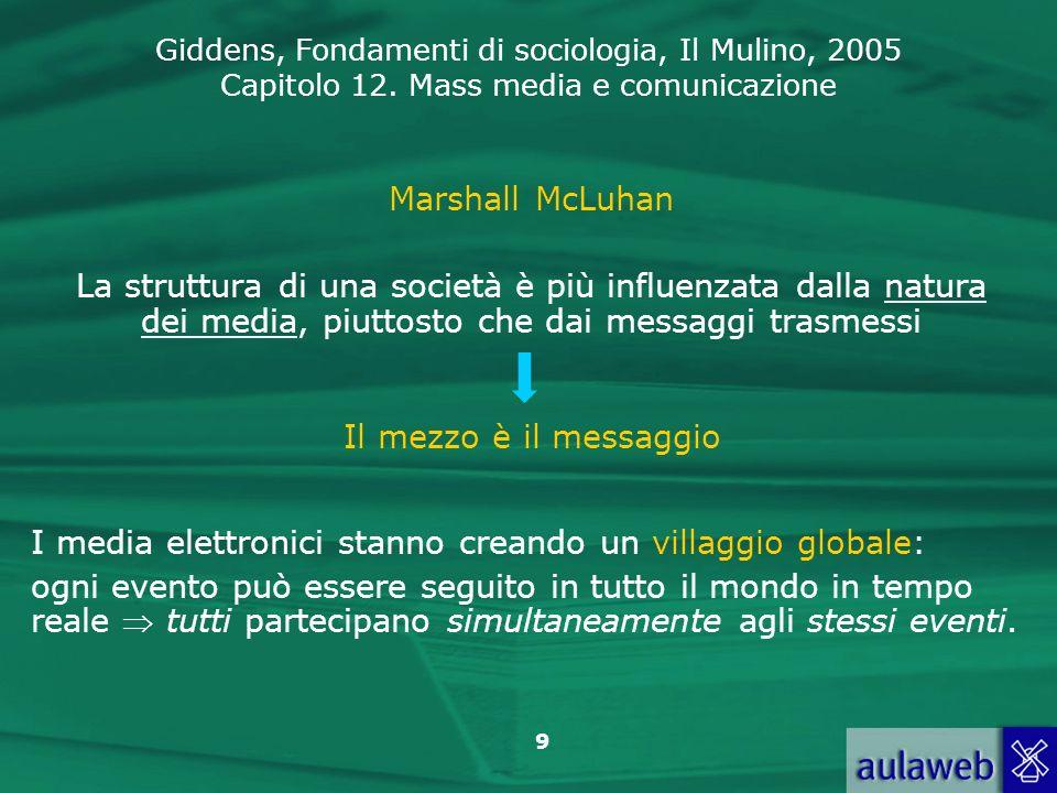 Giddens, Fondamenti di sociologia, Il Mulino, 2005 Capitolo 12. Mass media e comunicazione 9 Marshall McLuhan La struttura di una società è più influe