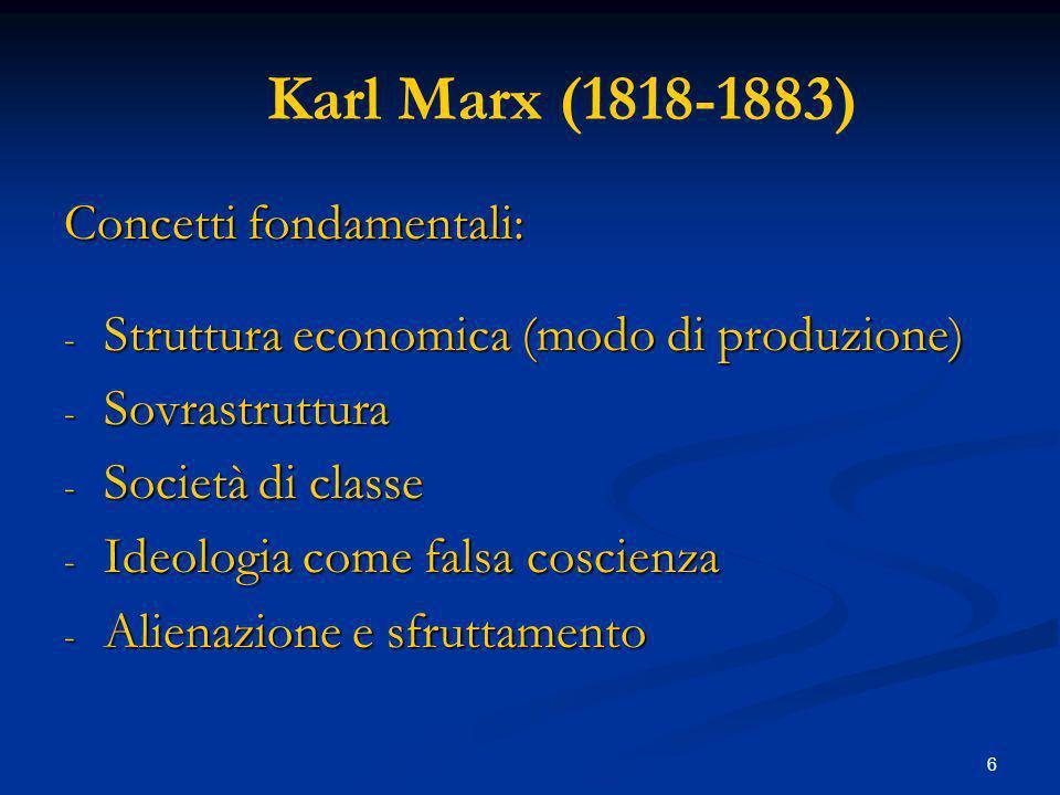 6 Karl Marx (1818-1883) Concetti fondamentali: - Struttura economica (modo di produzione) - Sovrastruttura - Società di classe - Ideologia come falsa