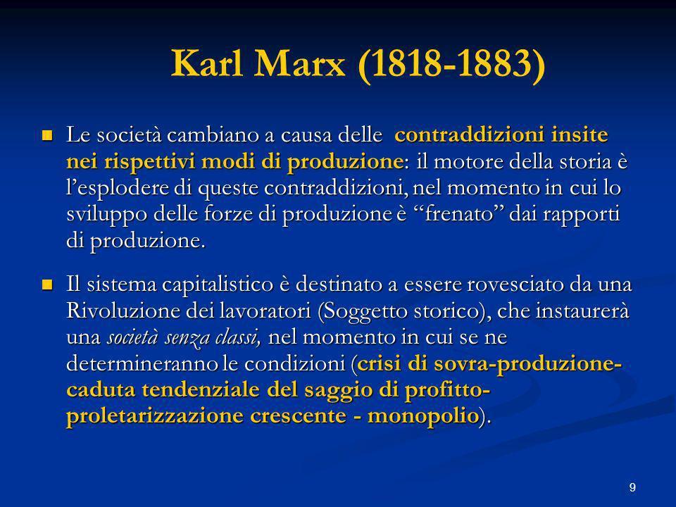 9 Karl Marx (1818-1883) Le società cambiano a causa delle contraddizioni insite nei rispettivi modi di produzione: il motore della storia è lesplodere di queste contraddizioni, nel momento in cui lo sviluppo delle forze di produzione è frenato dai rapporti di produzione.
